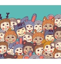 Crowd happy baby smiling and sky vector image vector image