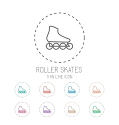 Roller skate Clean thin line style sport icon set vector image vector image