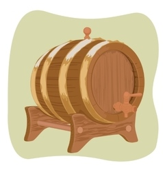 Wooden barrel with iron rings on green background vector image