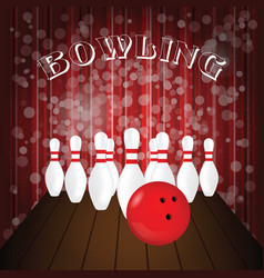 bowling poster with white pin and red ball vector image