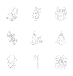 December holiday icons set outline style vector image