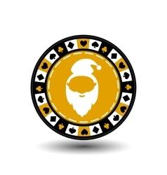 poker chip Christmas new year Santa Claus yellow vector image vector image