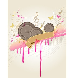 Retro music background with speakers vector image vector image