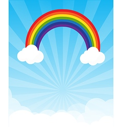 Sunburst and blue sky and rainbow background with vector image vector image