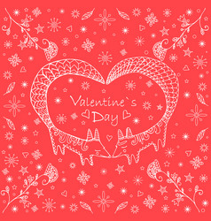 valentine s day card doodle stylecute ethnic two vector image vector image