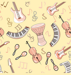 cartoon cute doodles hand drawn musical seamless vector image