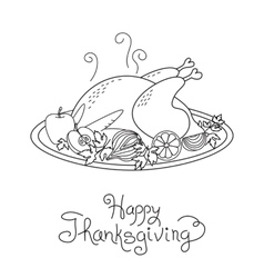 Doodle Thanksgiving Turkey Meal Freehand vector image