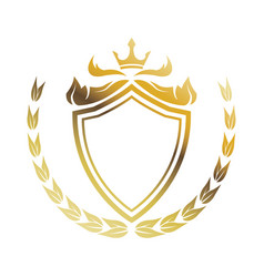 golden shield crown laurel heraldic luxury frame vector image vector image