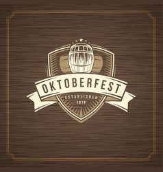 oktoberfest greeting card or flyer on textured vector image
