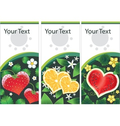 set of stickers with fruits hearts vector image