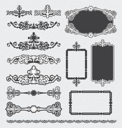 vintage decorative scroll and background set vector image