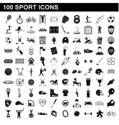 100 sport icons set simple style vector image