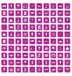 100 windmills icons set grunge pink vector