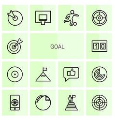 14 goal icons vector