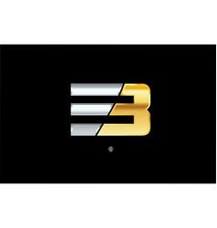3 number silver gold logo icon design vector
