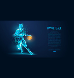 Abstract basketball player on blue background vector