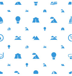 adventure icons pattern seamless white background vector image