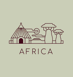 Africa landscape black and white outline cartoon vector