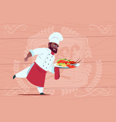 African american chef cook holding tray vector