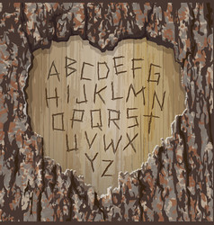Alphabet letters carved into tree easy edit font vector