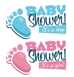 Baby Shower Invitations with Baby Feet vector image