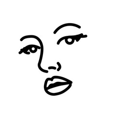 Beautiful woman face line art vector