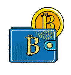 Bitcoin symbon in the wallet with coin money vector