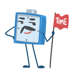 Blue alarm clock character holding pole with flag vector