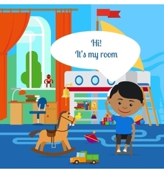 Boy with message bubble and room vector