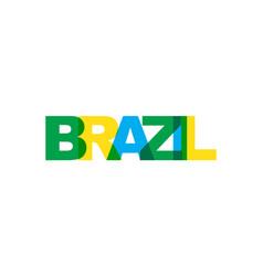 brazil country phrase overlap color no vector image