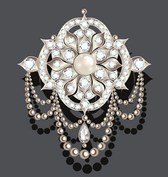 Brooch vintage with precious stones glamour vector