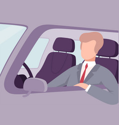 businessman driving a car view from inside vector image