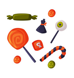 Candies and sweets set happy halloween objects vector