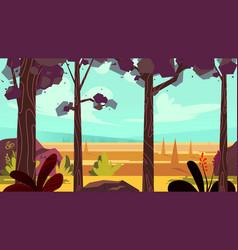 Cartoon autumn forest background seamless vector
