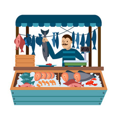 Cartoon color character person male and food vector