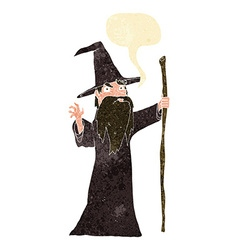 Cartoon old wizard with speech bubble vector