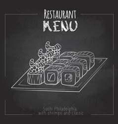 Chalk drawing sushi menu design vector