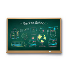 chalk drawn set education items vector image