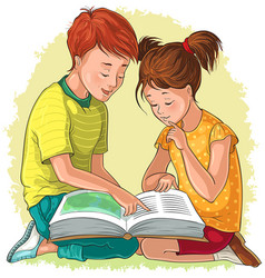 Children read book vector