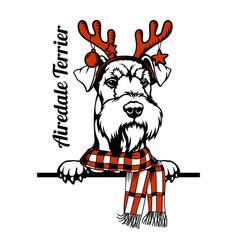 Christmas airedale terrier dog - peeking dog vector