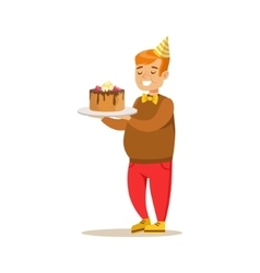 Chubby Boy With Big Cake Kids Birthday Party vector image