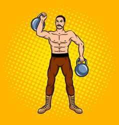 circus strongman with dumbbell pop art vector image