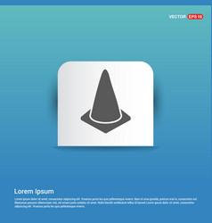 Cone icon - blue sticker button vector