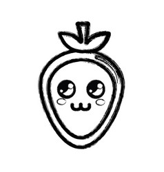 Contour kawaii nice thinking strawberry icon vector