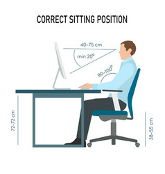Correct back sitting position infographic man sit vector