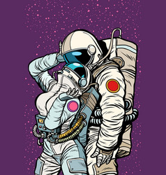 Cosmic love of cosmonauts man hugs woman vector