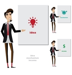 Creative man makes a presentation vector image