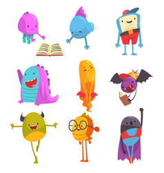 cute friendly freaky monsters set funny colorful vector image