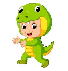 cute kids cartoon wearing crocodile costume vector image