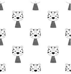 cute scandinavian tiger seamless pattern vector image